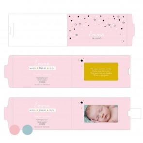Pink Stars ChangeCard geboortekaart