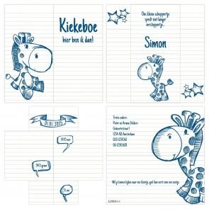 Turning Card Geboortekaartje Doodle Blauw