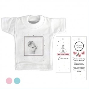 Indian Tipi Roze Mini T-Shirt geboortekaartje