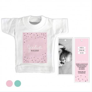 Stars Pink Mini T-Shirt geboortekaartje