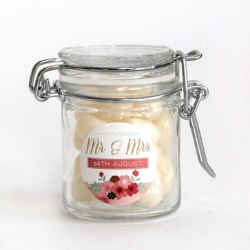 Pastel Flowers Weck Jar Wedding Favours