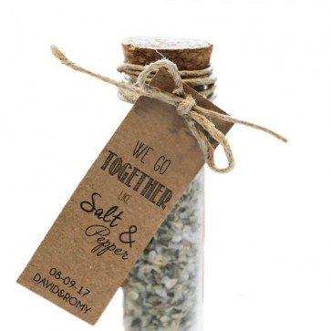 Salt & Pepper Herbal Gift Tubes wedding favours