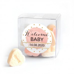 Gold & Pink baby shower favour Candy Cube