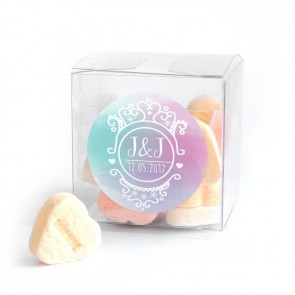 Colourful Splash Candy Cube wedding favour
