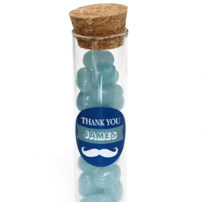 Moustache Candy Tubes baby shower favour