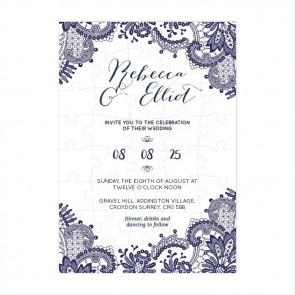 Blue Lace Puzzle Invitation Wedding