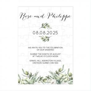 Olive Puzzle Invitation Wedding