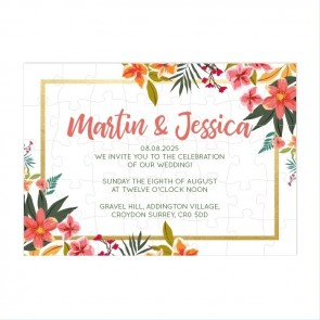 Tropical Flower Puzzle Invitation