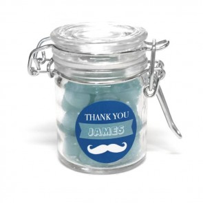 moustache baby shower weck jar