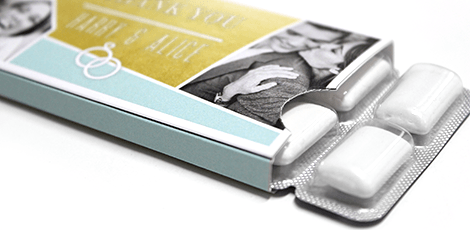 Personalised Chewing gum wedding favours