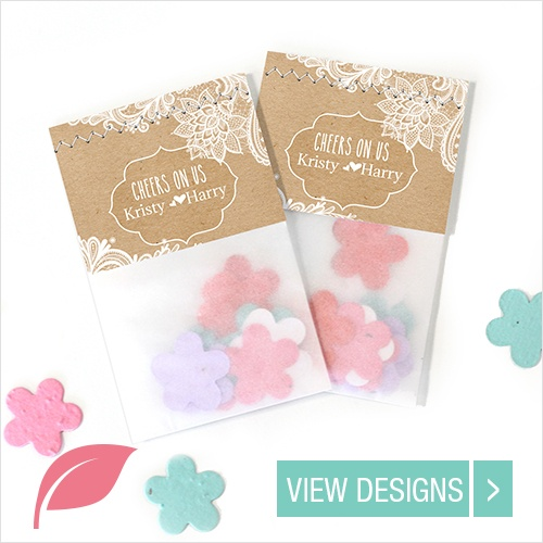 Wedding favours: plantable seedpaper Flowerbags