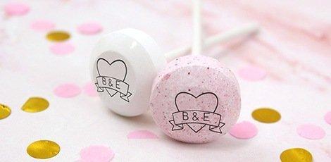 custom printed wedding lollipop favours