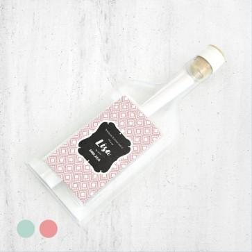 Baby Square Roze Flessenpost Geboortekaartje