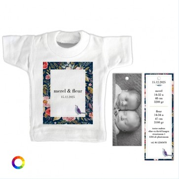 Mini T-Shirt Geboortekaartje duo flowers