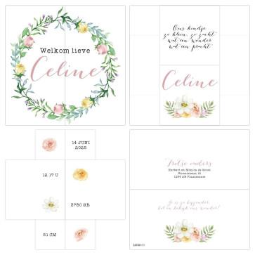 Turning Card Geboortekaartje Floral
