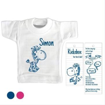 Doodle Blauw Mini T-Shirt geboortekaartje