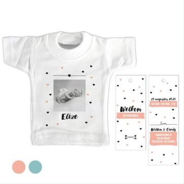 Heart Dots Roze Mini T-Shirt Geboortekaartje