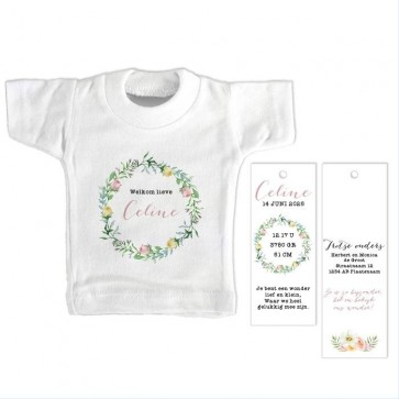 Pretty Floral Mini T-Shirt Geboortekaartje