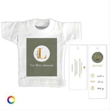 Mini T-Shirt Geboortekaartje  Sweet initials