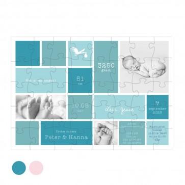 Baby Blocks Blauw Puzzel Geboortekaartje