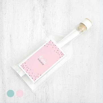 Stars Pink  Flessenpost Geboortekaartjes