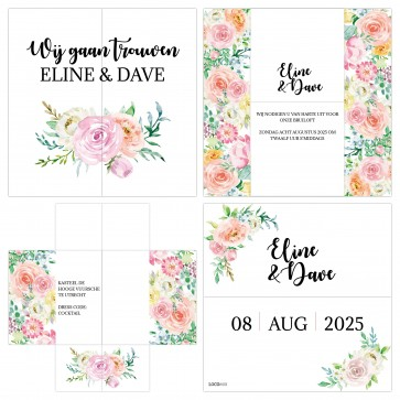 Floral Chic Turning Card Trouwkaart