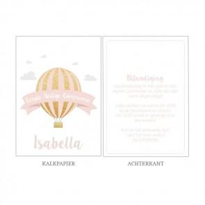 Pink Balloon Vellum Communiekaart