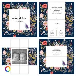 Turning Card Geboortekaartje duo flowers