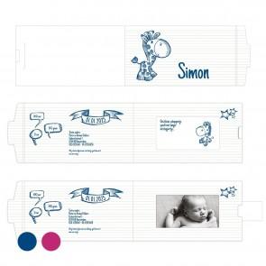 Blauw Doodle ChangeCard geboortekaart