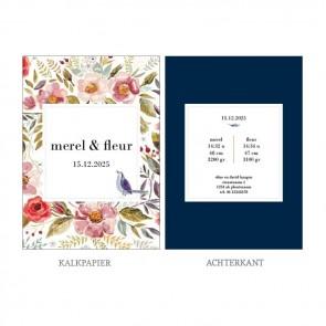 Duo Flowers Vellum Geboortekaartje