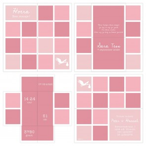 Turning Card Geboortekaartje Baby Blocks Roze