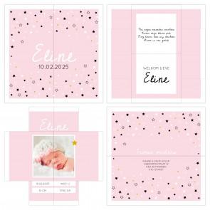 Turning Card Geboortekaartje Stars Roze
