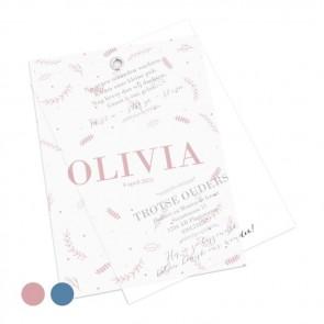 Geboortekaartje Kalkpapier Doodle Roze