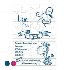 Doodle Geboortekaartjes Blauw