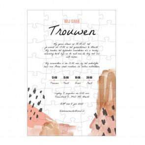 Ontwerp zelf de Puzzel Trouwkaart