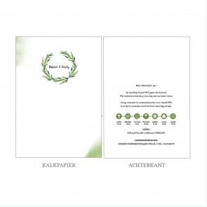 Green Leaf Vellum Trouwkaart