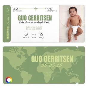 vliegticket geboortekaart kaart