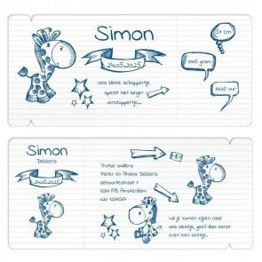 Vliegticket geboortekaart Doodle jongen