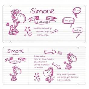 Vliegticket geboortekaart Doodle Roze