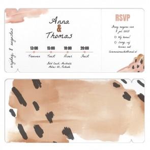 Conga trouwkaart vliegticket kaart