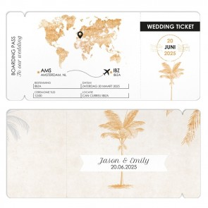trouwkaart vliegticket kaart Palm Trees