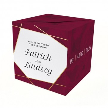Lines Burgundy Out of the Box Wedding Invitation