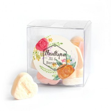 Peonies Fanfare Candy Cube wedding favour