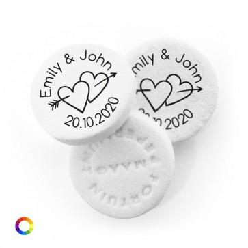 Arrow Hearts personalised wedding mints