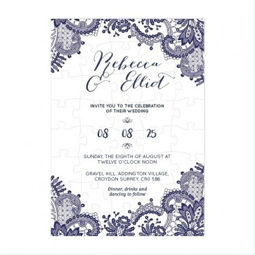 Blue Lace Puzzle Invitation Wedding