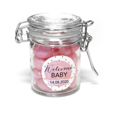 gold pink baby shower favour