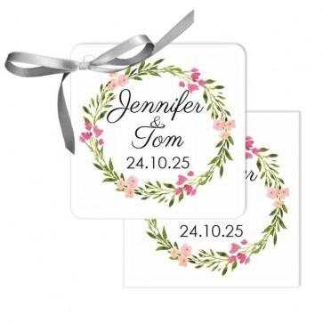 Bohemian Flowers Design Wedding Tags