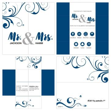 Elegant Turning Card Wedding Invitation