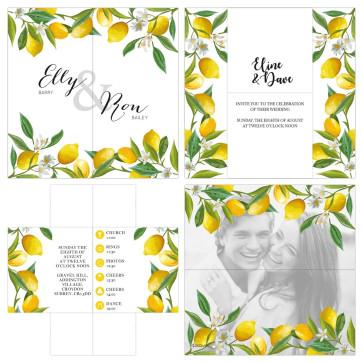 Turning Card Wedding Invitation Lemon