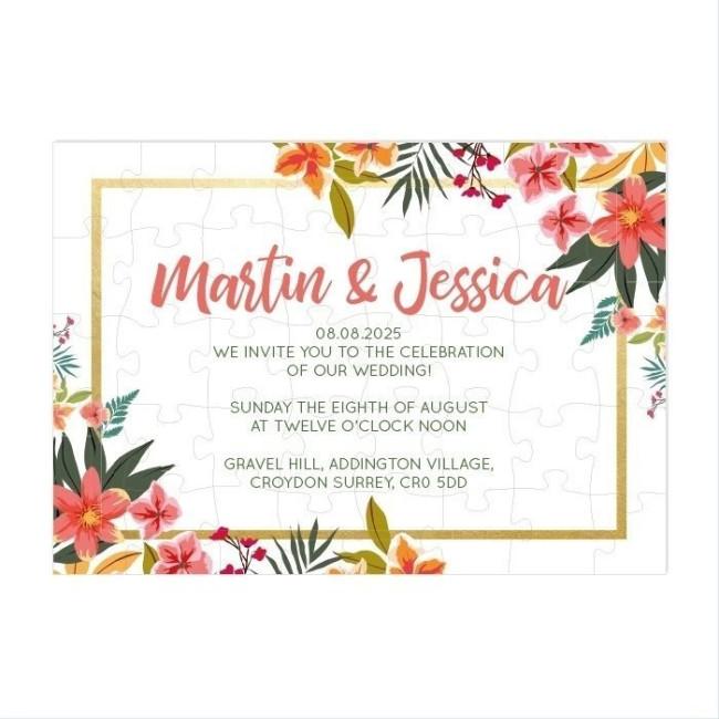Tropical Flower Puzzle Invitation